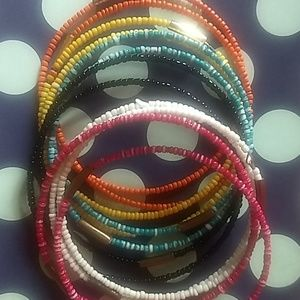 Seed bead bangle bundle